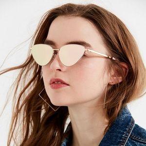 Celeste Cat Retro Mirror Cat Eye Sunglasses Gold